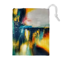 Art Painting Abstract Yangon Drawstring Pouches (extra Large)