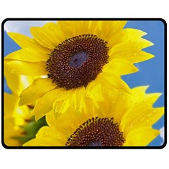 Sunflower Floral Yellow Blue Sky Flowers Photography Fleece Blanket (medium)