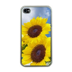 Sunflower Floral Yellow Blue Sky Flowers Photography Apple Iphone 4 Case (clear)