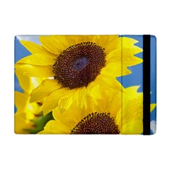 Sunflower Floral Yellow Blue Sky Flowers Photography Apple Ipad Mini Flip Case by yoursparklingshop