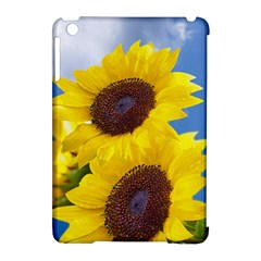 Sunflower Floral Yellow Blue Sky Flowers Photography Apple Ipad Mini Hardshell Case (compatible With Smart Cover)