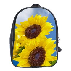 Sunflower Floral Yellow Blue Sky Flowers Photography School Bag (xl)