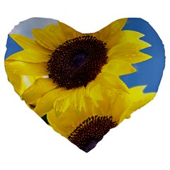 Sunflower Floral Yellow Blue Sky Flowers Photography Large 19  Premium Heart Shape Cushions by yoursparklingshop