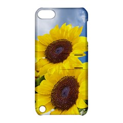 Sunflower Floral Yellow Blue Sky Flowers Photography Apple Ipod Touch 5 Hardshell Case With Stand