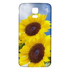 Sunflower Floral Yellow Blue Sky Flowers Photography Samsung Galaxy S5 Back Case (white)