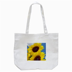Sunflower Floral Yellow Blue Sky Flowers Photography Tote Bag (white)