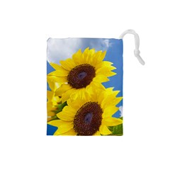 Sunflower Floral Yellow Blue Sky Flowers Photography Drawstring Pouches (small)