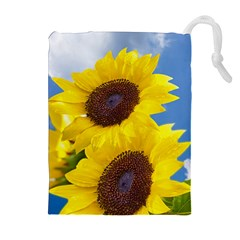 Sunflower Floral Yellow Blue Sky Flowers Photography Drawstring Pouches (extra Large) by yoursparklingshop