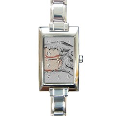 Hand Finger Drawing Fingernails Rectangle Italian Charm Watch
