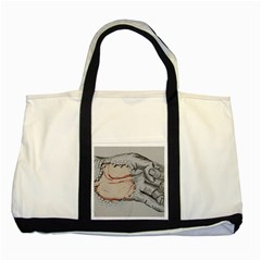 Hand Finger Drawing Fingernails Two Tone Tote Bag
