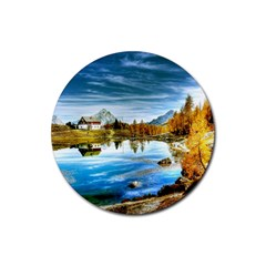 Dolomites Mountains Italy Alpin Rubber Round Coaster (4 Pack)