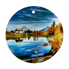 Dolomites Mountains Italy Alpin Round Ornament (two Sides)