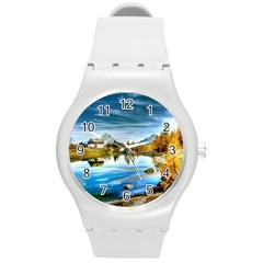 Dolomites Mountains Italy Alpin Round Plastic Sport Watch (m)