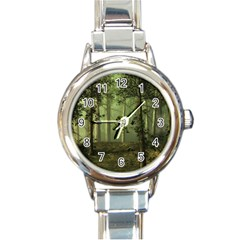 Forest Tree Landscape Round Italian Charm Watch