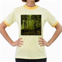 Forest Tree Landscape Women s Fitted Ringer T Shirts