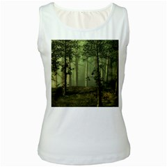 Forest Tree Landscape Women s White Tank Top