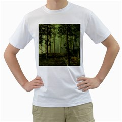 Forest Tree Landscape Men s T Shirt (white) (two Sided)