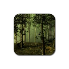 Forest Tree Landscape Rubber Square Coaster (4 Pack)