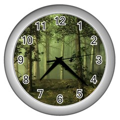 Forest Tree Landscape Wall Clocks (silver)