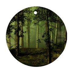 Forest Tree Landscape Round Ornament (two Sides)