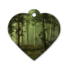 Forest Tree Landscape Dog Tag Heart (two Sides)