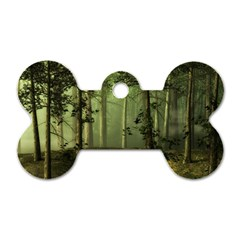Forest Tree Landscape Dog Tag Bone (one Side)