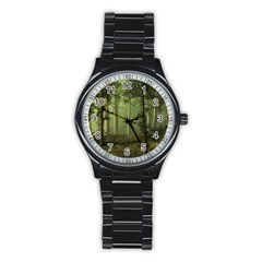 Forest Tree Landscape Stainless Steel Round Watch