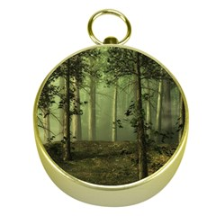 Forest Tree Landscape Gold Compasses