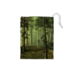 Forest Tree Landscape Drawstring Pouches (small)