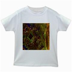 Fractal Virtual Abstract Kids White T Shirts