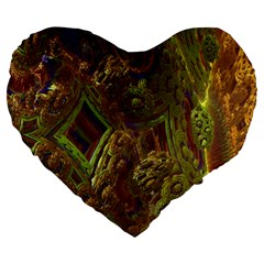 Fractal Virtual Abstract Large 19  Premium Heart Shape Cushions
