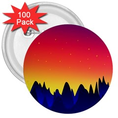 Night Landscape 3  Buttons (100 Pack)