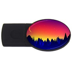 Night Landscape Usb Flash Drive Oval (4 Gb)
