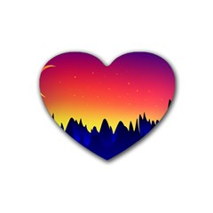 Night Landscape Heart Coaster (4 Pack)