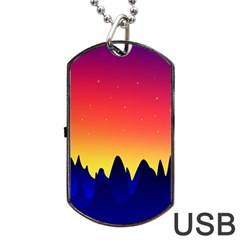 Night Landscape Dog Tag Usb Flash (one Side)