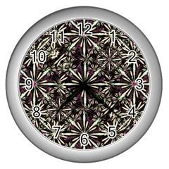 Dark Tropical Pattern Wall Clocks (silver)  by dflcprints