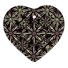 Dark Tropical Pattern Heart Ornament (two Sides)