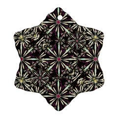 Dark Tropical Pattern Snowflake Ornament (two Sides)