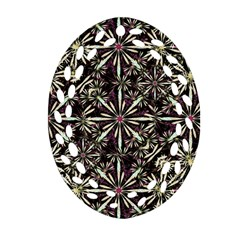 Dark Tropical Pattern Oval Filigree Ornament (two Sides) by dflcprints