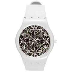 Dark Tropical Pattern Round Plastic Sport Watch (m) by dflcprints