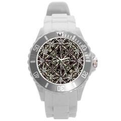 Dark Tropical Pattern Round Plastic Sport Watch (l)