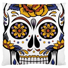 Sugar Skull Large Flano Cushion Case (two Sides)