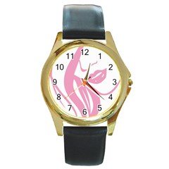Pinky Round Gold Metal Watch