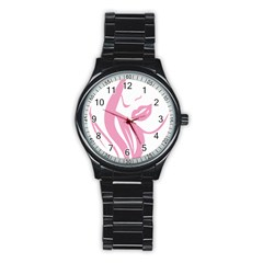 Pinky Stainless Steel Round Watch