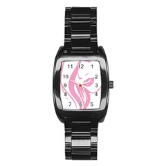 Pinky Stainless Steel Barrel Watch