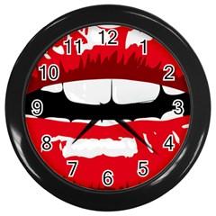 Sexy Lips Wall Clocks (black) by sherylchapmanphotography