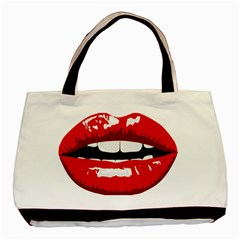 Sexy Lips Basic Tote Bag (two Sides)