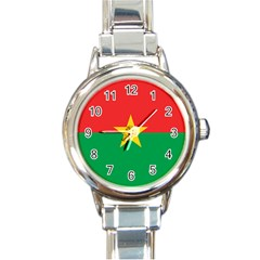 Flag Of Burkina Faso Round Italian Charm Watch