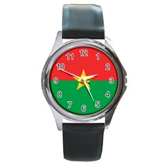 Flag Of Burkina Faso Round Metal Watch