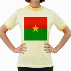 Flag Of Burkina Faso Women s Fitted Ringer T Shirts